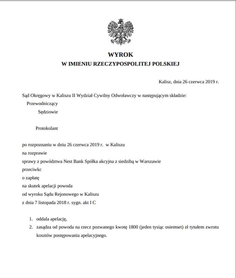 Nest Bank wyrok Kalisz