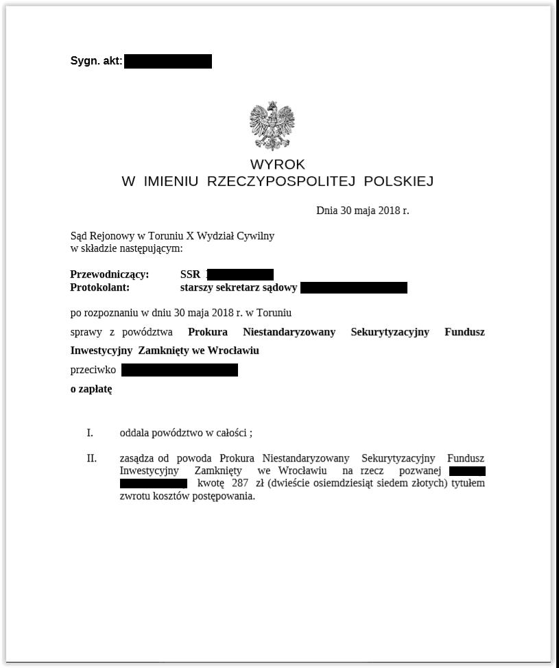 wyrok prokura
