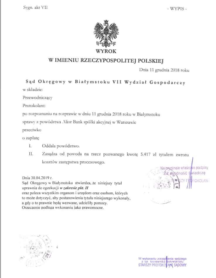Wyrok Alior Bank